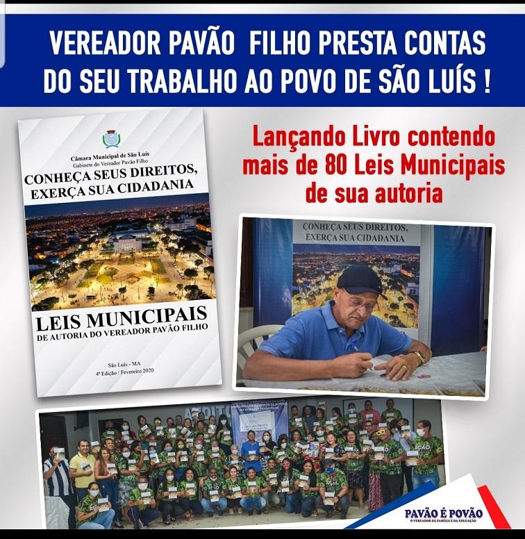 Vereador Pavão Filho lança o seu Livro de Leis para prestação de contas de seu trabalho